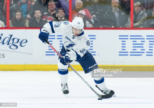Tampa Bay Lightning Left Wing Greg McKegg stickhandles the puck during the NHL game between the Ottawa Senators and the Tampa Bay Lightning on March...
