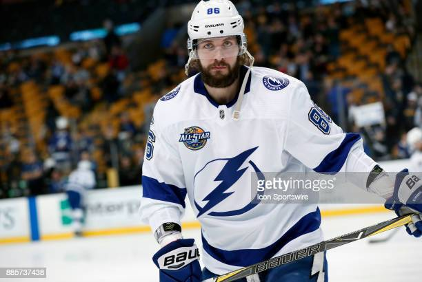 Tampa Bay Lightning right wing Nikita Kucherov before a game between the Boston Bruins and the Tampa Bay Lightning on November 29 at TD Garden in...