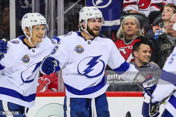 Tampa Bay Lightning right wing Nikita Kucherov celebrates after scoring during the second period of the National Hockey League game between the New...