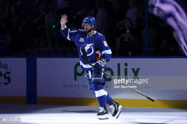 Tampa Bay Lightning right wing Nikita Kucherov is named Star after the NHL game between the Pittsburgh Penguins and Tampa Bay Lightning on October 12...