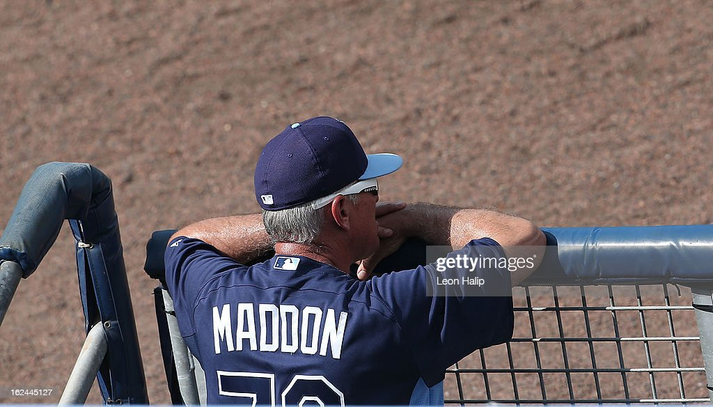 Tampa Bay manager <a gi-track='captionPersonalityLinkClicked' href=/galleries/search?phrase=Joe+Maddon&family=editorial&specificpeople=568433 ng-click='$event.stopPropagation()'>Joe Maddon</a> #70 watches the action during the Spring Training game against the Pittsburgh Pirates on February 23, 2013 in Port Charlotte, Florida. The Pirates defeated the Rays' 3-2.