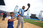 Tampa Bay Rays catcher Rene Rivera waves as he is introduced before the exhibition game between the Cuban national team and the Tampa Bay Rays of the...