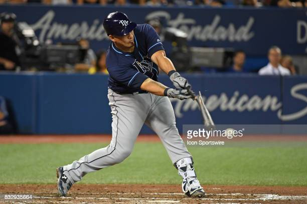 Tampa Bay Rays Catcher Wilson Ramos breaks his bat hitting during the regular season MLB game between the Tampa Bay Rays and Toronto Blue Jays on...