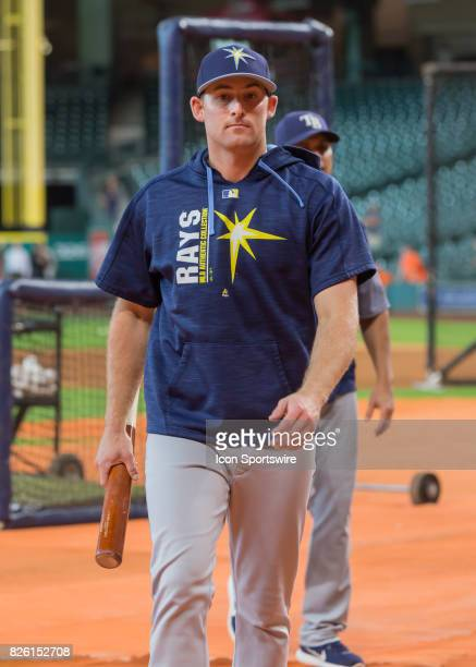 Tampa Bay Rays center fielder Peter Bourjos warms up at the batting cage during the MLB game between the Tampa Bay Rays and Houston Astros on August...