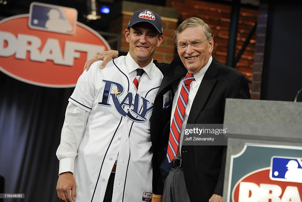 Tampa Bay Rays draftee Nick Ciuffo (L) poses for a photograph with Major League Baseball Commissioner <a gi-track='captionPersonalityLinkClicked' href=/galleries/search?phrase=Bud+Selig&family=editorial&specificpeople=211472 ng-click='$event.stopPropagation()'>Bud Selig</a> at the 2013 MLB First-Year Player Draft at the MLB Network on June 6, 2013 in Secaucus, New Jersey.