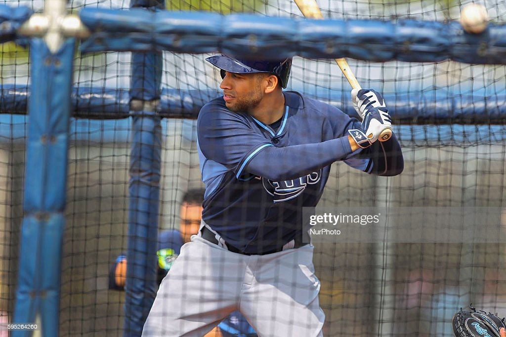 Tampa Bay Rays first baseman James Loney takes batting practice Saturday February 28 2015 at Charlotte Charlotte Sports Park in Port Charlotte...