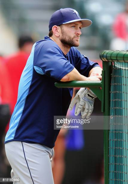 Tampa Bay Rays left fielder Shane Peterson leans on the batting cage during batting practice before a game against the Los Angeles Angels of Anaheim...