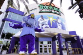 Tampa Bay Rays mascot Raymond is seen outside of Tropicana Field on April 8 2012 in Tampa Bay Florida