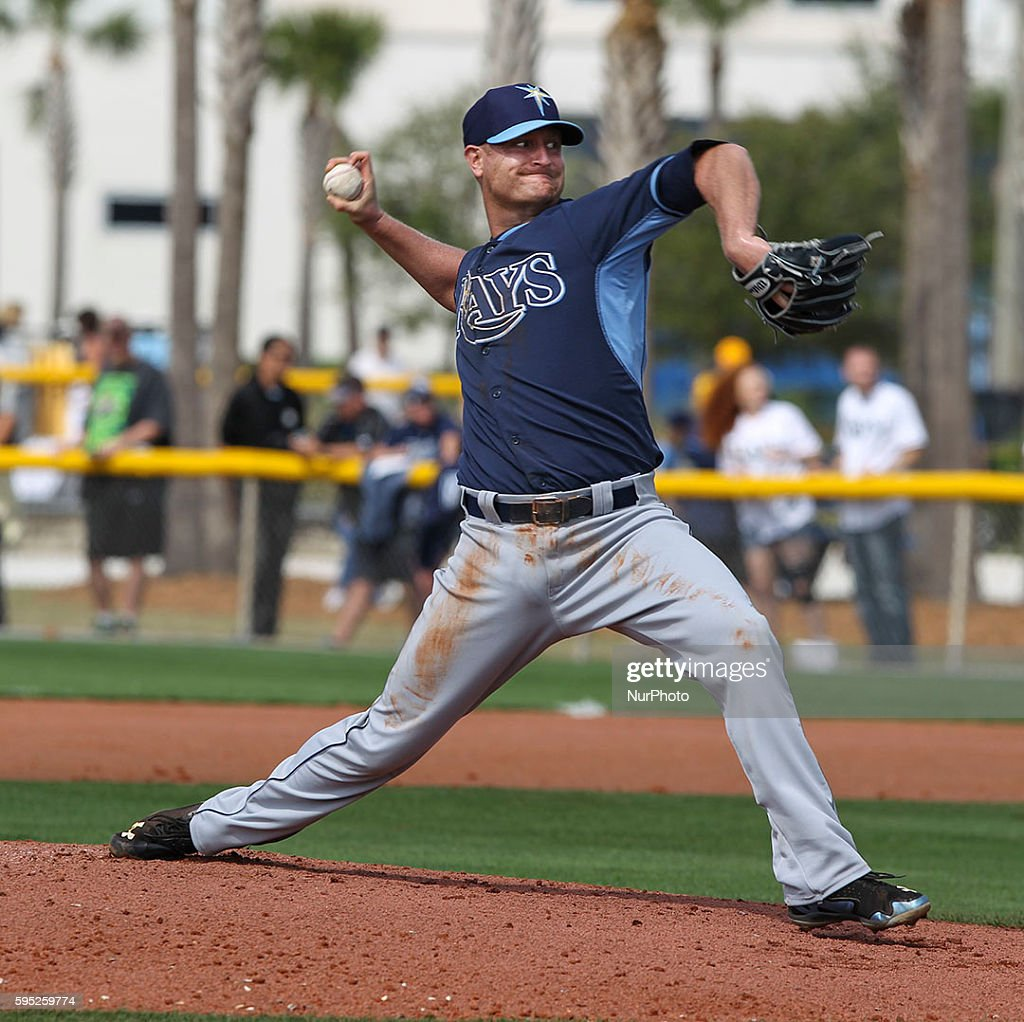 Tampa Bay Rays pitcher Alex Cobb throws batting practice Saturday February 28 2015 at Charlotte Sports Park in Port Charlotte Florida Saturday was...