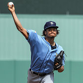 Tampa Bay Rays pitcher Chris Archer pitches against the Boston Red Sox during a Spring Training game Friday March 4 2016 at JetBlue Park in Fort...