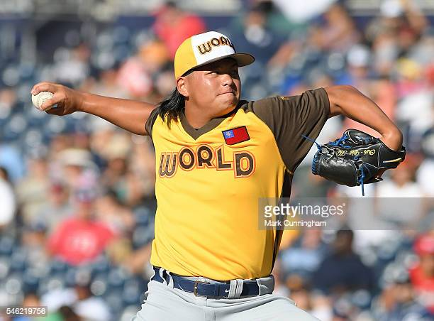 Tampa Bay Rays prospect ChihWei Hu of the World Team pitches during the SiriusXM AllStar Futures Game at PETCO Park on July 10 2016 in San Diego...