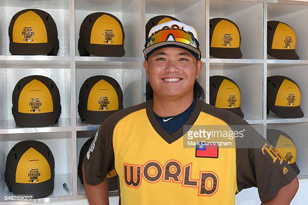 Tampa Bay Rays prospect ChihWei Hu of the World Team poses for a photo prior to the SiriusXM AllStar Futures Game at PETCO Park on July 10 2016 in...
