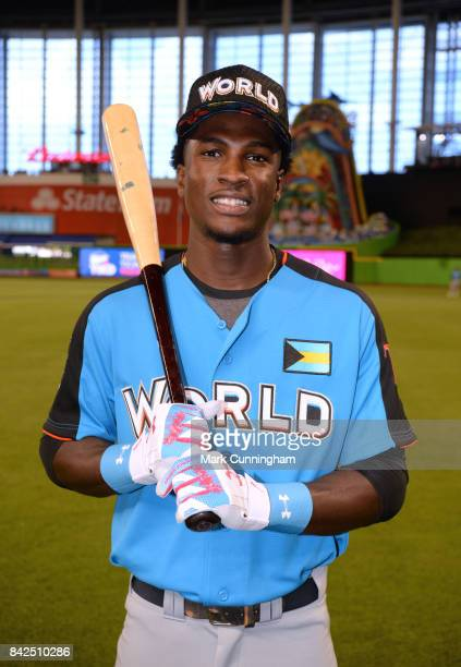 Tampa Bay Rays prospect Lucius Fox of the World Team poses for a photo prior to the 2017 SiriusXM AllStar Futures Game at Marlins Park on July 9 2017...