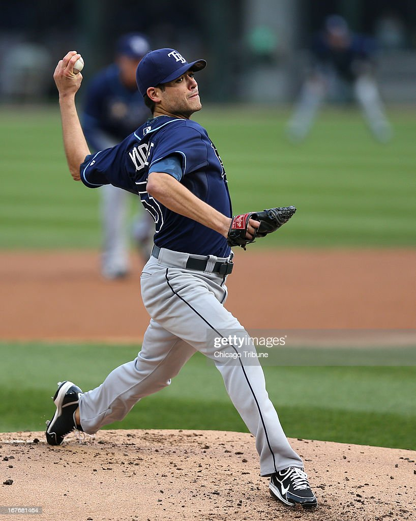 Tampa Bay Rays starting pitcher Matt Moore throws against the Chicago White Sox in the first inning at U.S. Cellular Field in Chicago, Illinois, on Saturday, April 27, 2013.