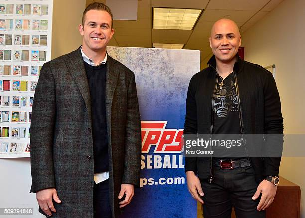 Tampa Bay Rays third baseman Evan Longoria and New York Yankees right fielder Carlos Beltran attend the 'Open Topps Baseball Series 1 Cards ' event...