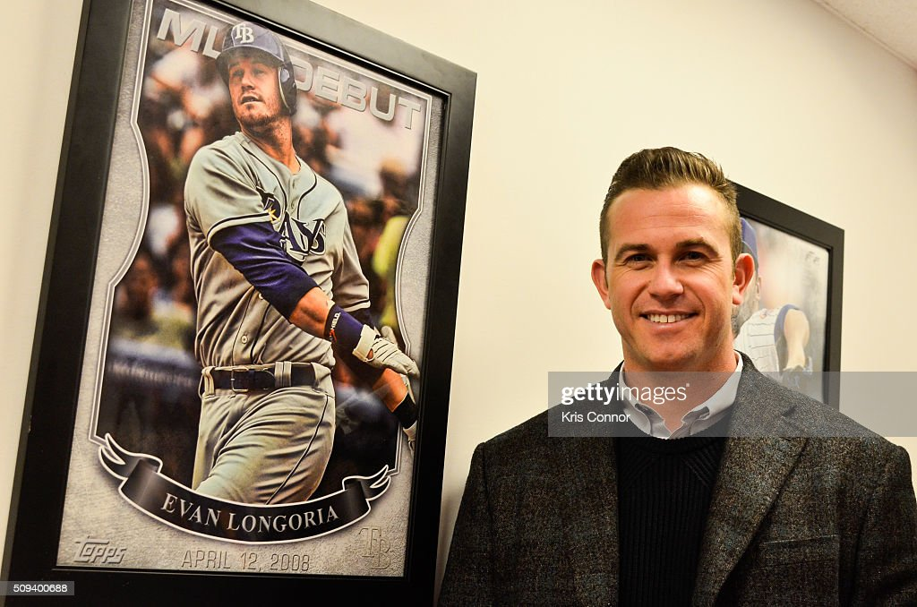 Tampa Bay Rays third baseman Evan Longoria attends the 'Open Topps Baseball Series 1 Cards ' event at the Topps' offices on February 10, 2016 in New York City.