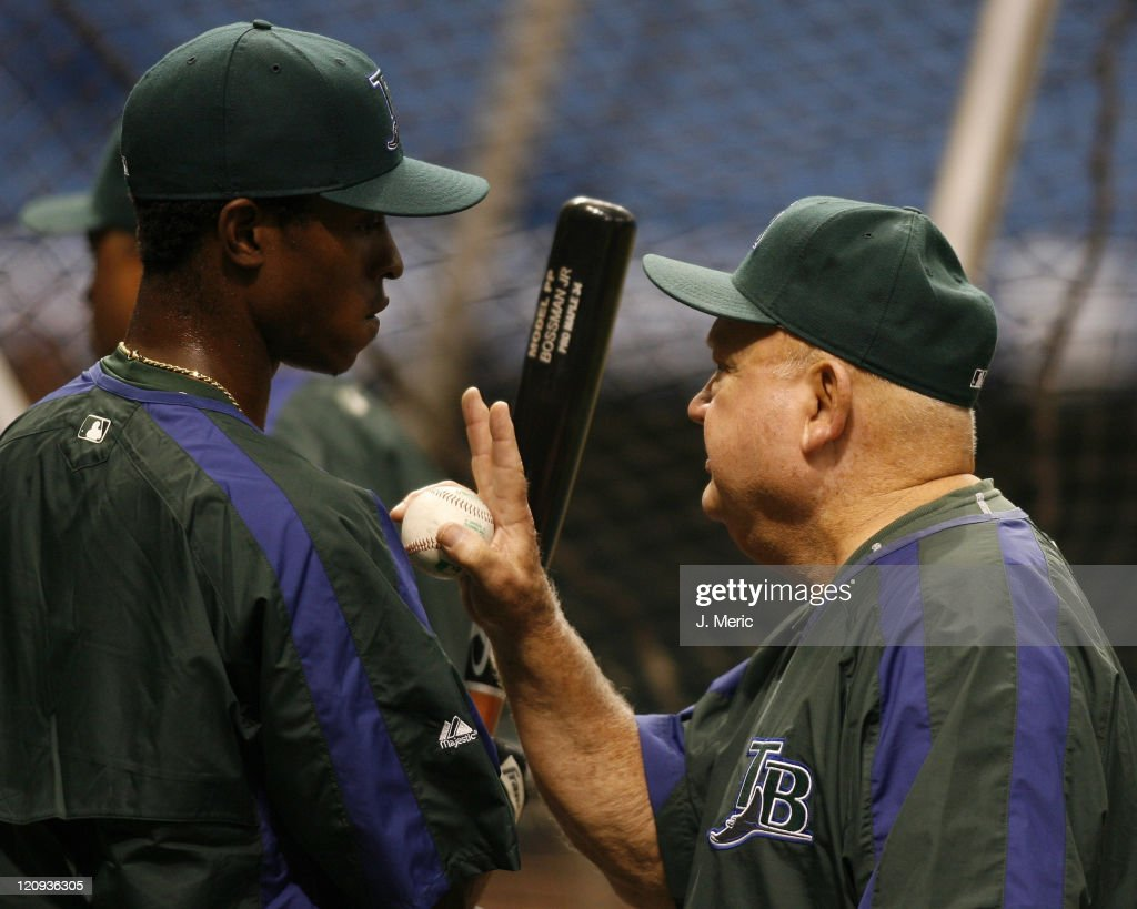 0b15e27a ... 2016 Tampa Bay rookie B.J. Upton gets some advice from Devil Rays coach  Don Zimmer prior to ...