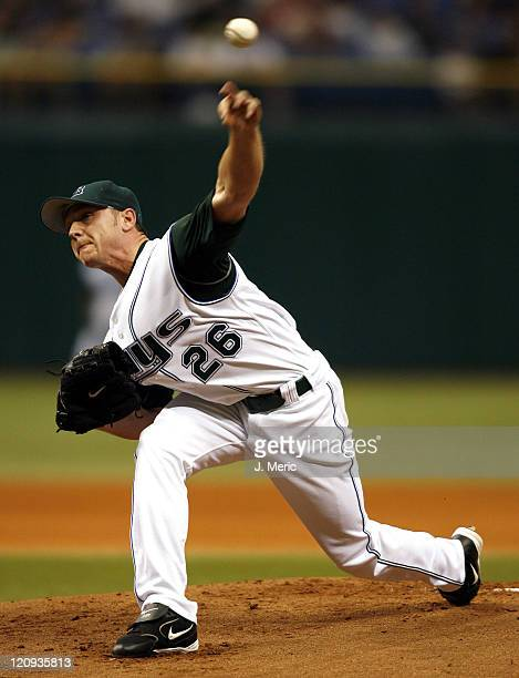 Tampa Bay starting pitcher Scott Kazmir makes a pitch in Sunday's game against the Florida Marlins at Tropicana Field in St Petersburg Florida on May...