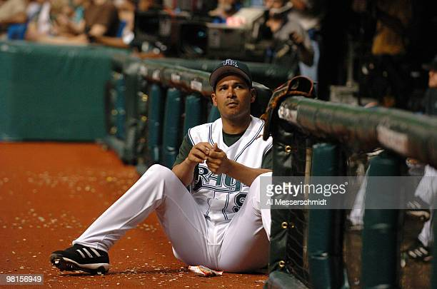 Tampa Bays Devil Rays infielder Tomas Perez watches play against the Baltimore Orioles July 22 2006 in St Petersburg