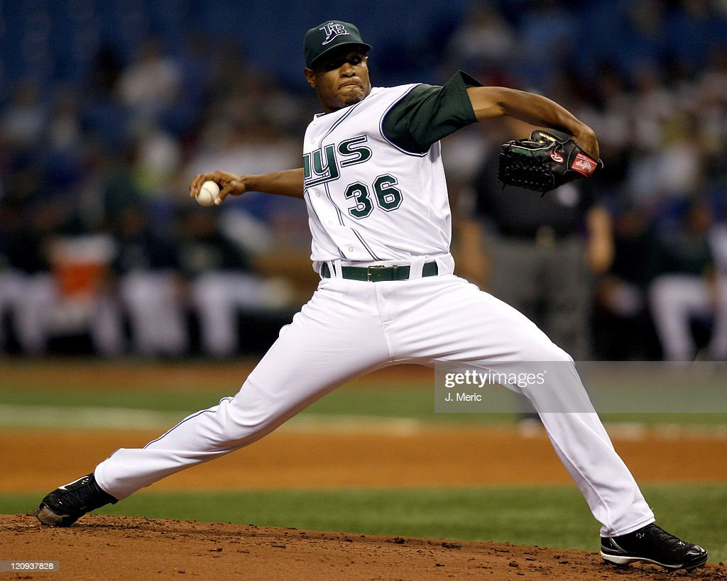 Tampa Bay's <a gi-track='captionPersonalityLinkClicked' href=/galleries/search?phrase=Edwin+Jackson&family=editorial&specificpeople=220506 ng-click='$event.stopPropagation()'>Edwin Jackson</a> prepares to make a pitch in Friday night's game against Cleveland at Tropicana Field in St. Petersburg, Florida on April 20, 2007.