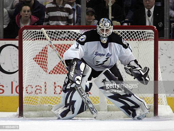Tampa Bay's goalie Sean Burke during a game versus the Buffalo Sabres at the HSBC Arena in Buffalo New York January 5 2006 Buffalo defeated Tampa Bay...