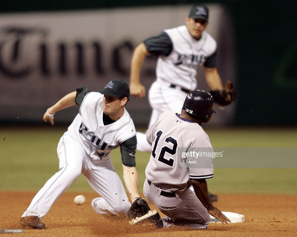 Tampa Bay's Nick Green (left) prepares for the throw as New York's Tony Womack slides safely into second with a steal in Wednesday night's game at Tropicana Field in St. Petersburg, Florida on August 17, 2005.