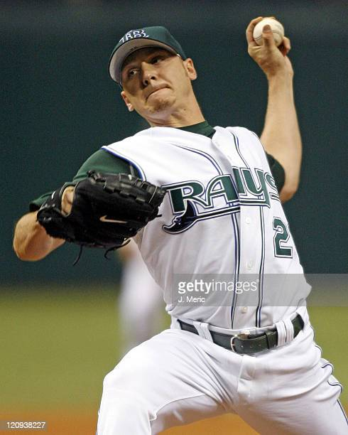 Tampa Bay's Scott Kazmir makes a pitch in Friday night's game against Kansas City at Tropicana Field in St Petersburg Florida on April 14 2006