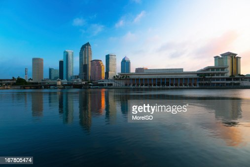 Tampa Downtown Skyline with Skyscraper Reflection at Sunrise