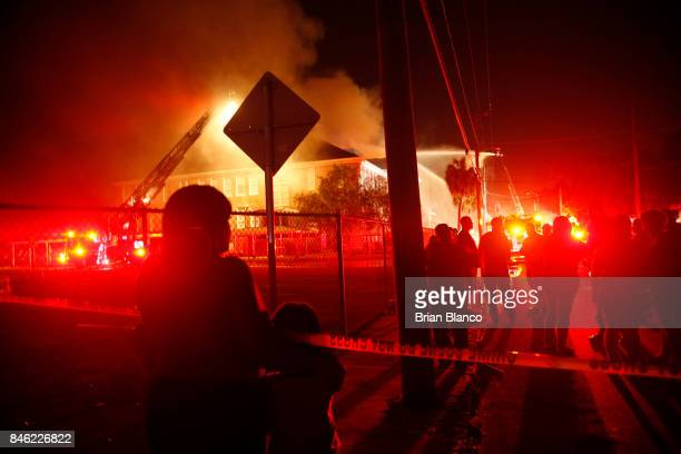Tampa Fire Rescue crews work to fight a 3alarm structure fire at Lee Elementary School of Technology on September 12 2017 in Tampa Florida Some...