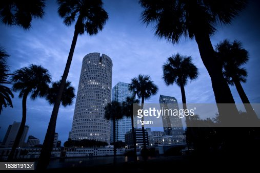 Tampa Florida skyline dusk USA