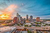 Tampa, Florida, USA downtown skyline at dusk.
