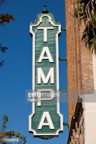 Tampa Theater sign on building in Tampa, Florida