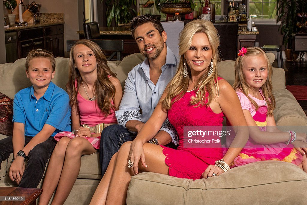 Tamra Barney of 'Real Housewives Of Orange County' poses with her family during a photo shoot April 21, 2012 in Laguna Beach, California.