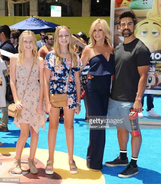 Tamra Judge husband Eddie Judge and daughters Sidney Barney and Sophia Barney attend the premiere of 'The Emoji Movie' at Regency Village Theatre on...