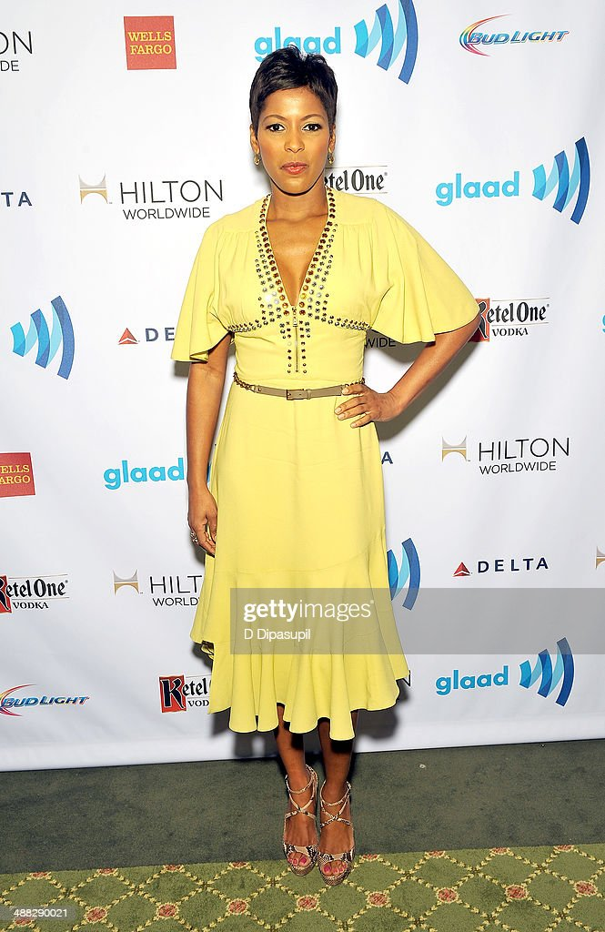<a gi-track='captionPersonalityLinkClicked' href=/galleries/search?phrase=Tamron+Hall&family=editorial&specificpeople=5933064 ng-click='$event.stopPropagation()'>Tamron Hall</a> attends the 25th Annual GLAAD Media Awards on May 3, 2014 in New York City.