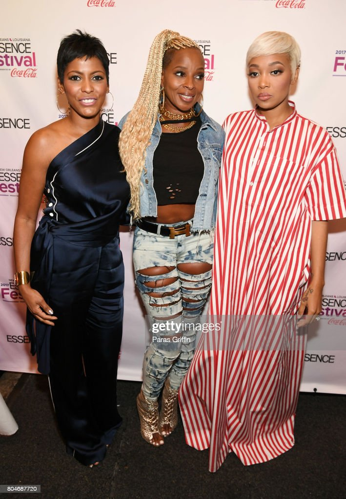 Tamron Hall, Mary J. Blige and Monica pose backstage at the 2017 ESSENCE Festival presented by Coca-Cola at Ernest N. Morial Convention Center on June 30, 2017 in New Orleans, Louisiana.