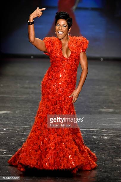 Tamron Hall walks the runway at The American Heart Association's Go Red For Women Red Dress Collection 2016 Presented By Macy's at The Arc Skylight...