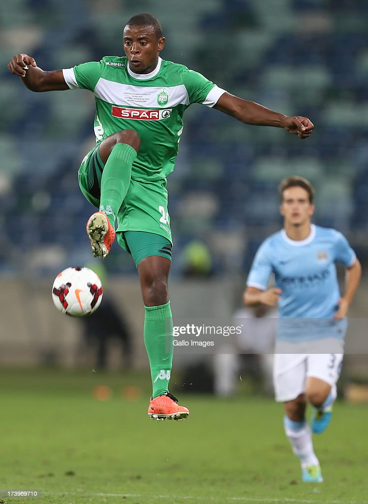 Tamsanqa Teyise of AmaZulu during the Nelson Mandela Football Invitational match between AmaZulu and Manchester City at Moses Mabhida Stadium on July 18, 2013 in Durban, South Africa.