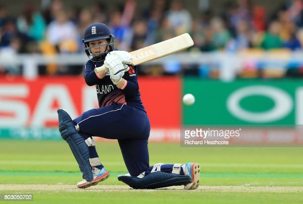 Tamsin Beaumont of England bats during the Women's ICC World Cup group match between England and Pakistan at Grace Road on June 27 2017 in Leicester...