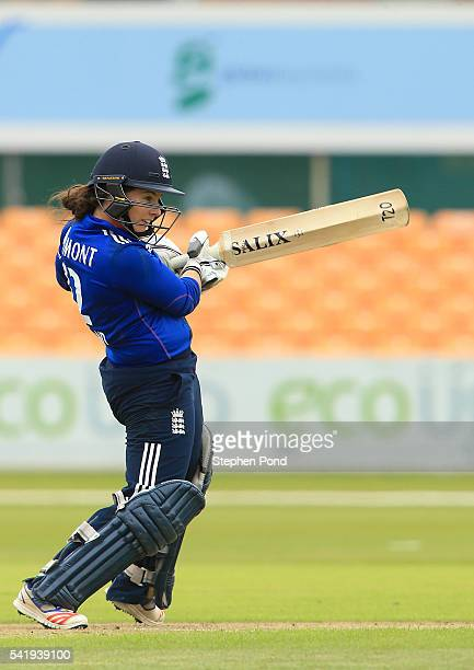 Tamsin Beaumont of England hits out during the 1st Royal London ODI match between England Women and Pakistan Women at Grace Road Cricket Ground on...