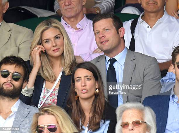 Tamsin Egerton and Dermot O'Leary attend day eight of the Wimbledon Tennis Championships at Wimbledon on July 04 2016 in London England