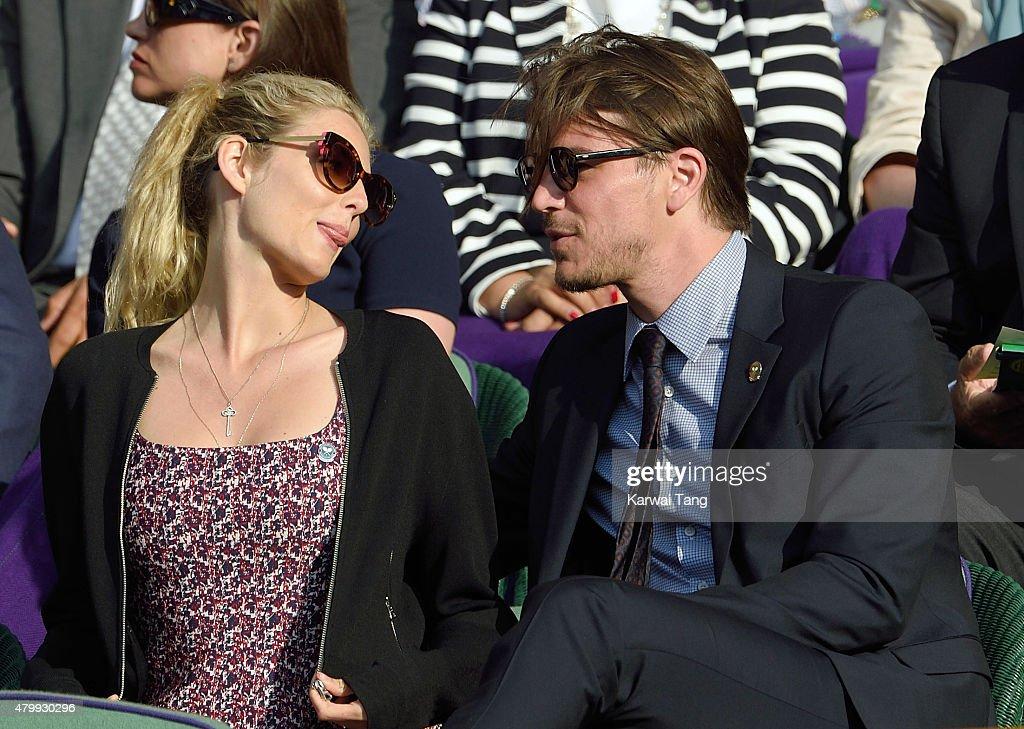 Tamsin Egerton and Josh Hartnett attend day nine of the Wimbledon Tennis Championships at Wimbledon on July 8, 2015 in London, England.