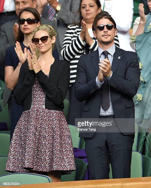 Tamsin Egerton and Josh Hartnett attend day nine of the Wimbledon Tennis Championships at Wimbledon on July 8 2015 in London England