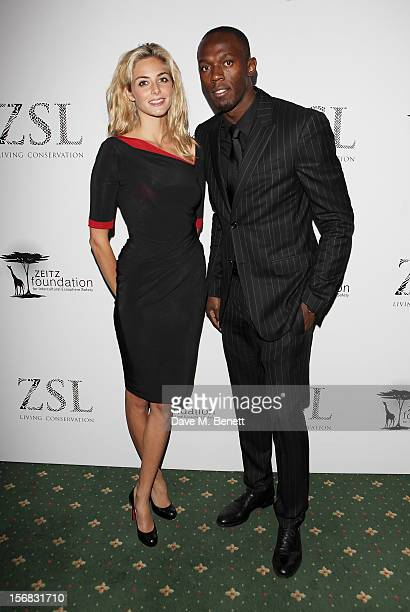 Tamsin Egerton and Usain Bolt arrive at the Zeitz Foundation and ZSL Gala at London Zoo on November 22 2012 in London England