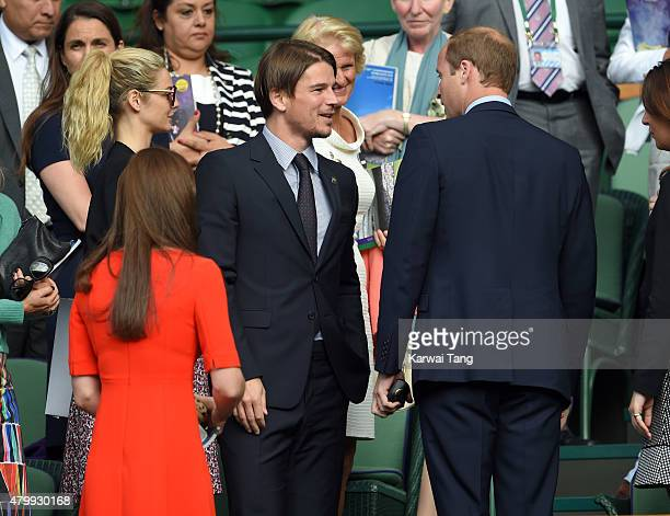 Tamsin Egerton Josh Hartnett and Prince William Duke of Cambridge attend day nine of the Wimbledon Tennis Championships at Wimbledon on July 8 2015...