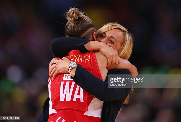 Tamsin Greenway of England and England coach Tracey Neville celebrate victory during the 2015 Netball World Cup Bronze Medal match between England...