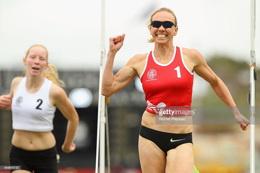 Tamsyn Manou of Glen Iris celebrates after winning Heat 10 State of Victoria Strickland Family Women's Gift during the 2013 Stawell Gift carnival at Central Park on March 30, 2013 in Stawell, Australia.