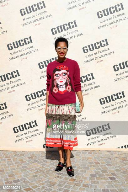 Tamu McPherson arrives at the Gucci show during Milan Fashion Week Spring/Summer 2018 on September 20 2017 in Milan Italy