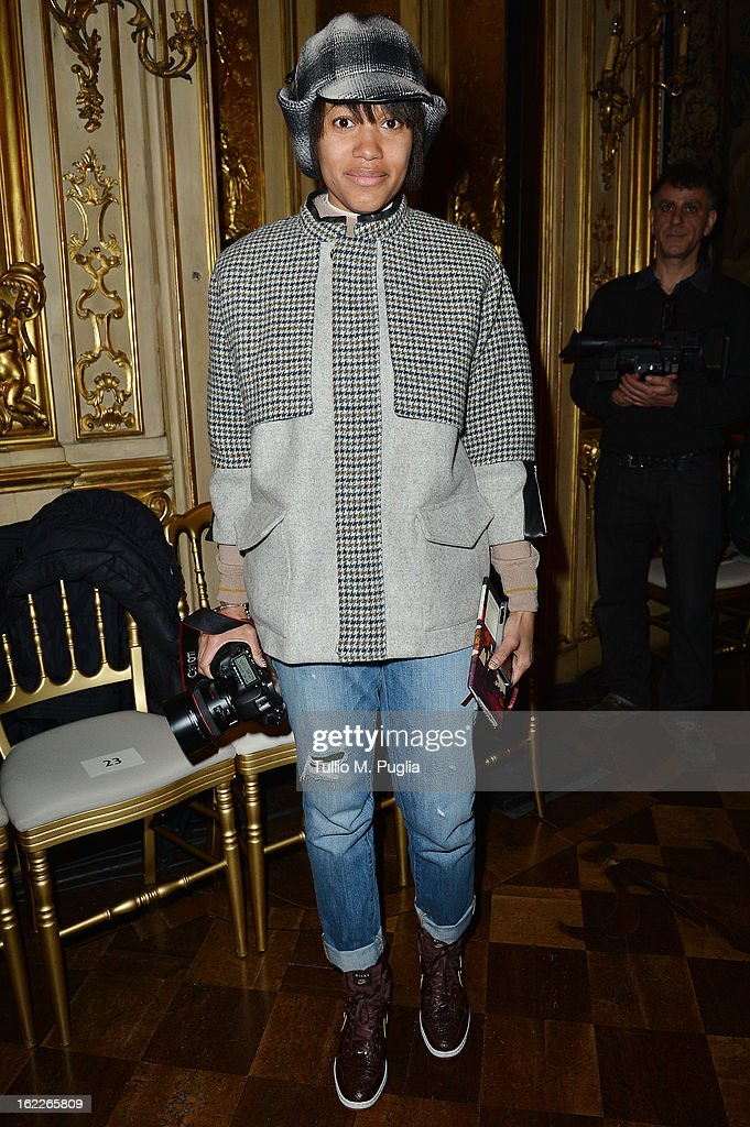 Tamu McPherson attends the Antonio Marras fashion show during Milan Fashion Week Womenswear Fall/Winter 2013/14 on February 21, 2013 in Milan, Italy.