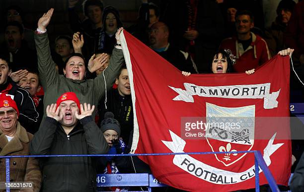 Tamworth fans show their support prior to the FA Cup Third Round match between Everton and Tamworth at Goodison Park on January 7 2012 in Liverpool...